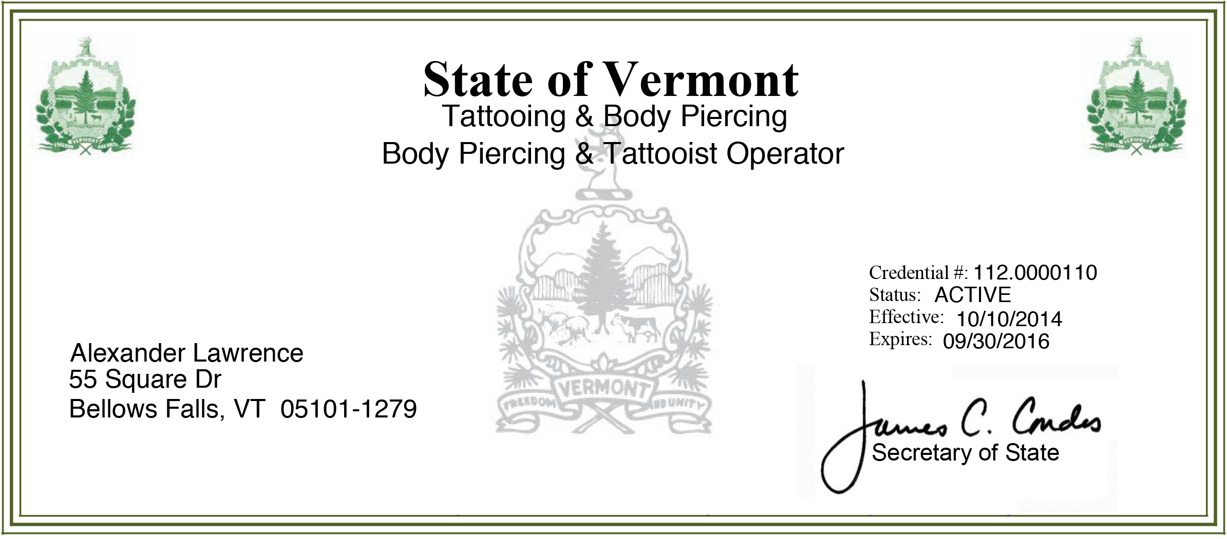 Certifications for Tattoo artist license